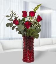 Kırmızı  silindir vazoda beş kırmızı gül