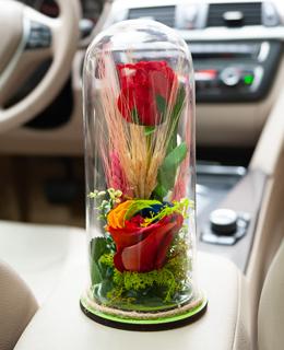Cam vazoda solmayan gül tasarımı