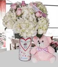 Seni seviyorum vazo ortanca ve pembe güller
