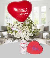 Seni seviyorum vazo �ebboy ve sevgilim i�in �ikolata balon