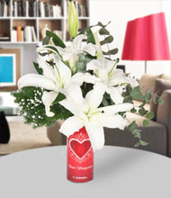Seni seviyorum  vazo ve beyaz lilyum