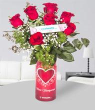 Seni seviyorum vazo 7 kýrmýzý gül