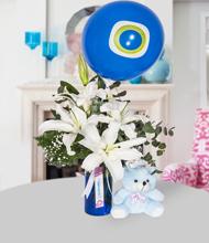 Mavi suda lilyum, ayýcýk ve nazar boncugu balon