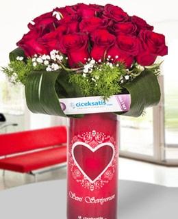 Seni Seviyorum Vazoda 20  Kırmızı Gül