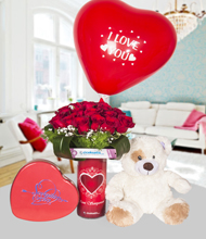 Seni seviyorum vazoda 20  kýrmýzý gül ayýcýk ,çikolata ve i love you balon