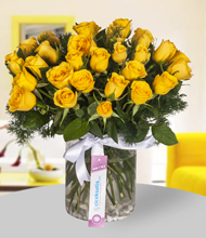 Silindir vazo içerisinde 39 adet sarı gül